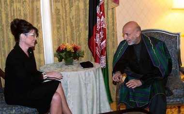 Palin meets Afghan President Karzai 2008